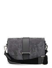 Abigail satchel w. canvas - SUEDE GREY