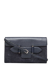 Janice clutch with strap - SUEDE NAVY