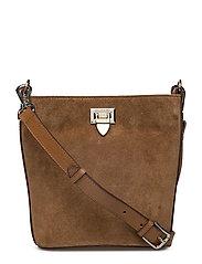 Small bucket bag w/buckle - SUEDE LATTE