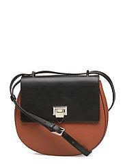 Tiny round satchel bag w/buckle - AUTUMN ORANGE/BLACK