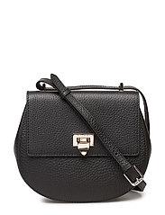 Tiny round satchel bag w/buckle - BLACK