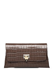 Nora small clutch w/buckle - CROCO MOCHA