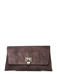 Nora small clutch w/buckle - SUEDE MOCHA