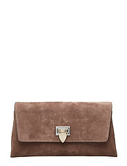 Nora small clutch w/buckle - SUEDE NOUGAT