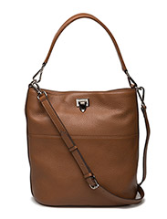 Big bucket bag w/buckle - COGNAC