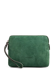 Hannah makeup purse - SUEDE GREEN