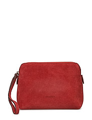 Hannah makeup purse - SUEDE SCARLET RED