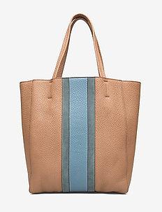 Faye soft tote - fashion shoppers - latte/dove blue