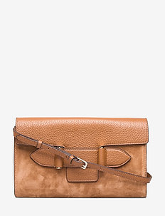 Janice clutch with strap - SUEDE COGNAC