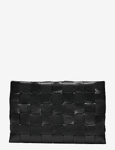 Dolores woven clutch - kirjekuorilaukut - black