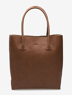 Plain tote - fashion shoppers - cognac