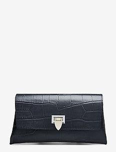 Nora small clutch w/buckle - clutches - croco black