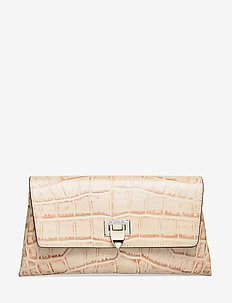 Nora small clutch w/buckle - clutches - croco oat