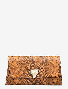 Nora small clutch w/buckle - clutches - snake golden yellow