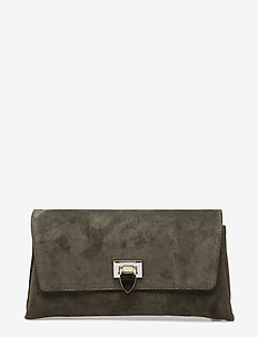 Nora small clutch w/buckle - clutches - suede army