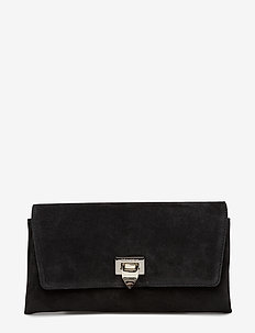 Small clutch w/buckle - SUEDE BLACK