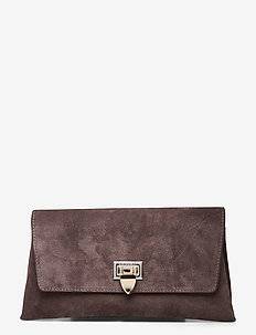 Nora small clutch w/buckle - clutches - suede mocha