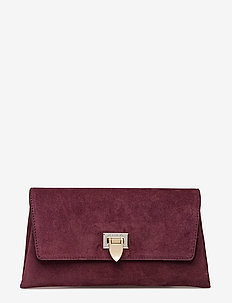 Nora small clutch w/buckle - clutches - suede oxblood