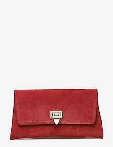 Nora small clutch w/buckle - clutches - suede scarlet red