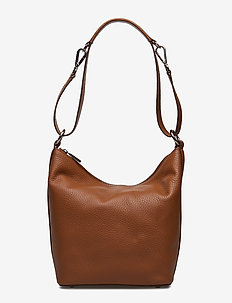 Small shoulder bag with two way strap - bucket bags - cognac