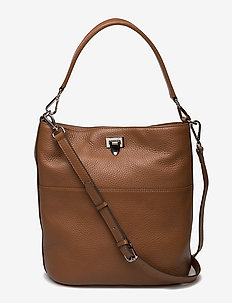 Big bucket bag w/buckle - COGNAC