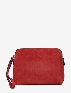 Hannah makeup purse - SUEDE SCARLET RED