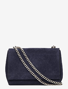 Small clutch with double chain - crossbody bags - suede navy