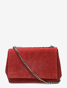 Small clutch with double chain - skuldertasker - suede scarlet red