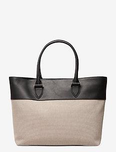Angie big leather/canvas tote - shopper-laukut - black