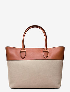 Angie big leather/canvas tote - shoppers - cognac