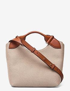 Mille small canvas tote - top handle tasker - cognac