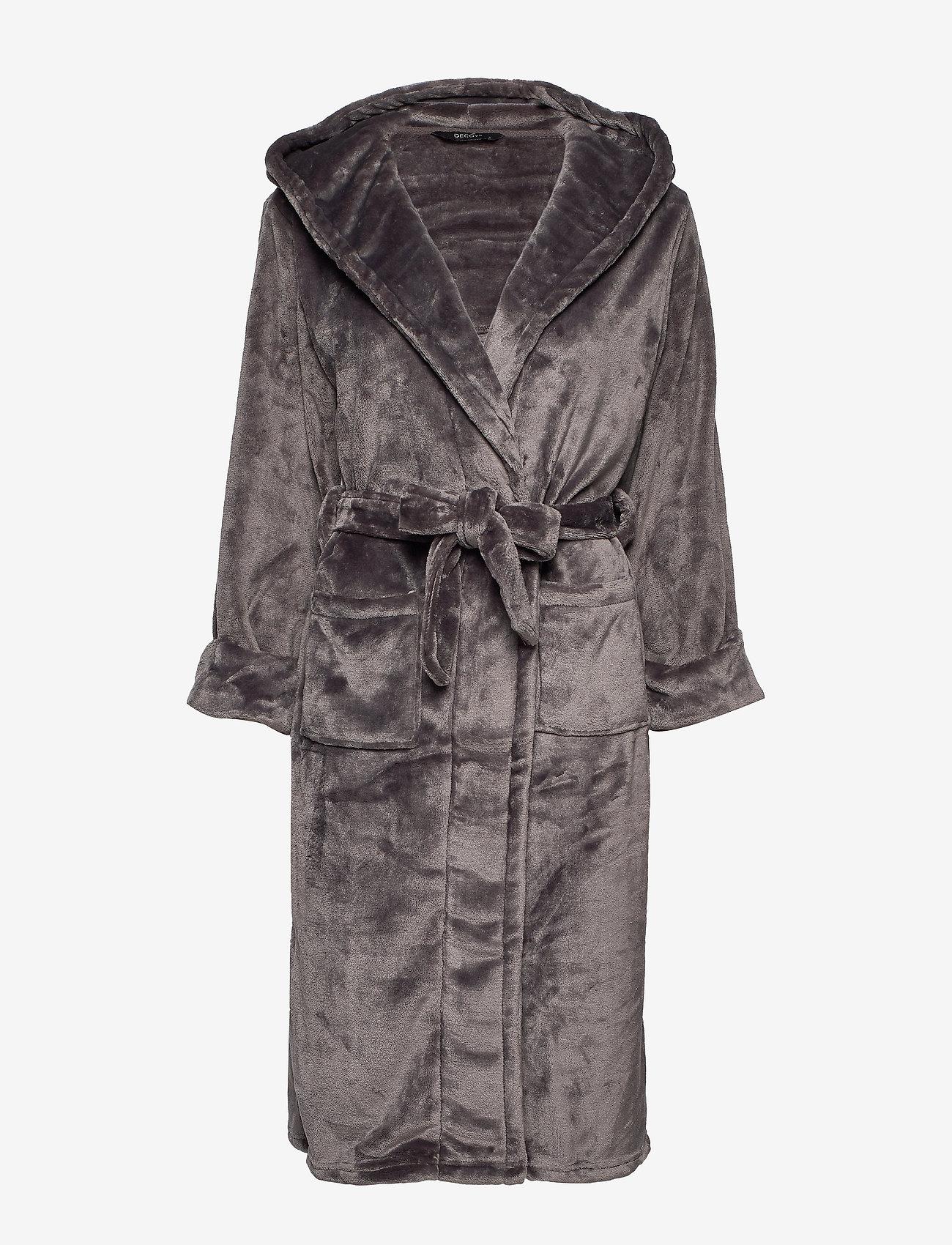 Decoy - DECOY long robe w/hood - bathrobes - asphalt - 0