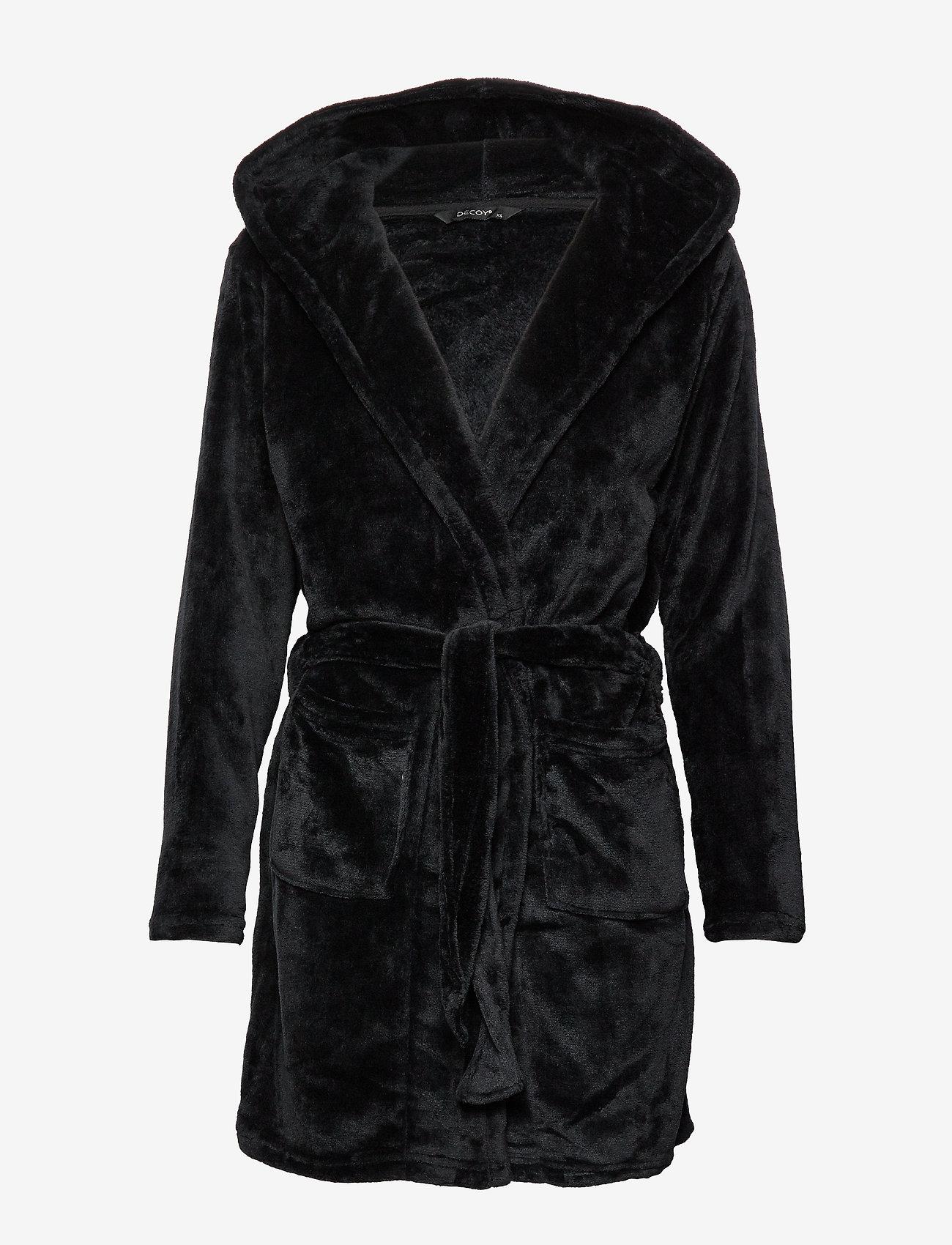 Decoy - DECOY short robe w/hood - bathrobes - black - 0
