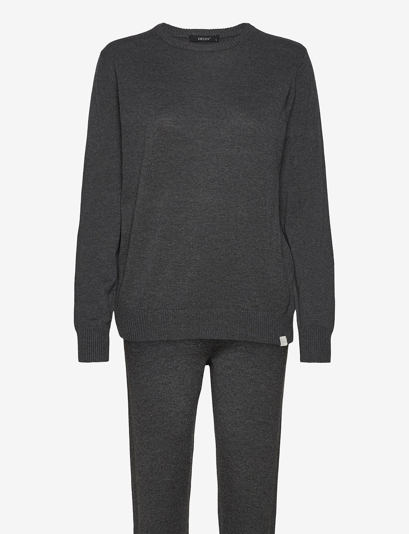 Decoy - DECOY knit set loungewear - pyjama''s - mörkgrå me - 0