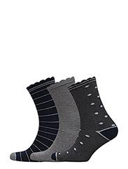 Ankel strømpe 3-pak - UDEN FARVE
