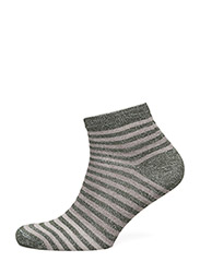 Ladies sock w. lurex stripes - GREY W/STRIPES