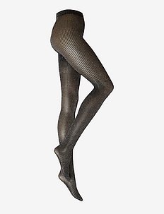 DECOY tights glitter rib 80 de - mønster - black-silv