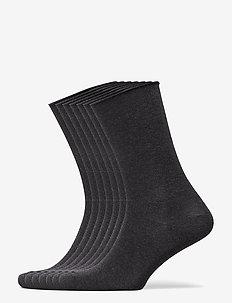 DECOY socks org.cotton 7pk - tavalliset sukat - mörkgrå me