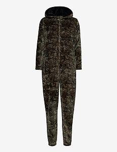 DECOY onepiece w/hood, zipper - pyjamas - army print