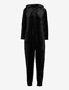 DECOY onepiece w/hood, zipper - pyjama''s - svart