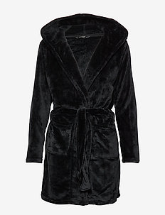 DECOY short robe w/hood - morgenkåper - black