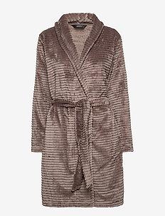 DECOY short robe w/stripes - pegnoirs - driftwood