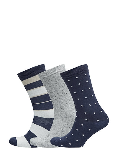 Ladies ankelsock 3-pack - BLUE/WHITE
