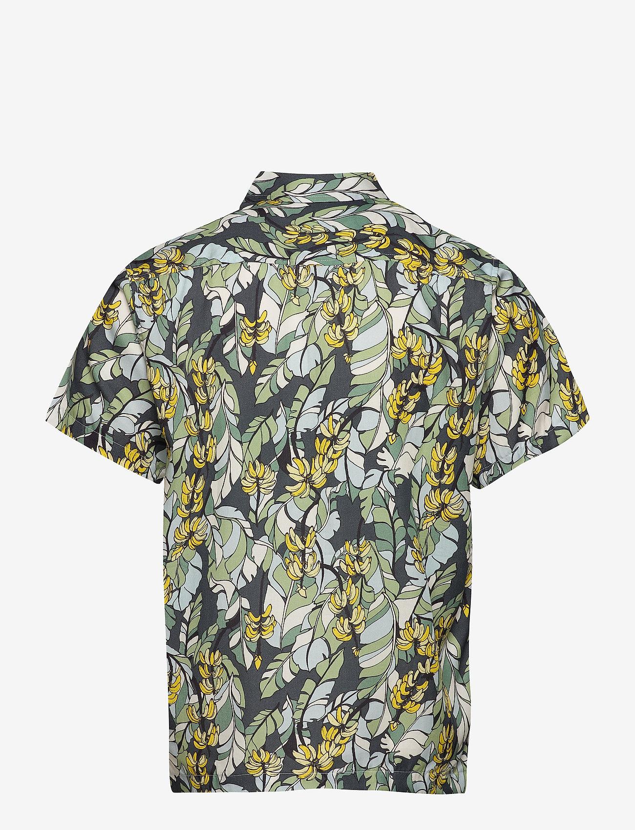 DEDICATED Shirt Short Sleeve Marstrand Banana Leaves - Skjorter GREEN - Menn Klær