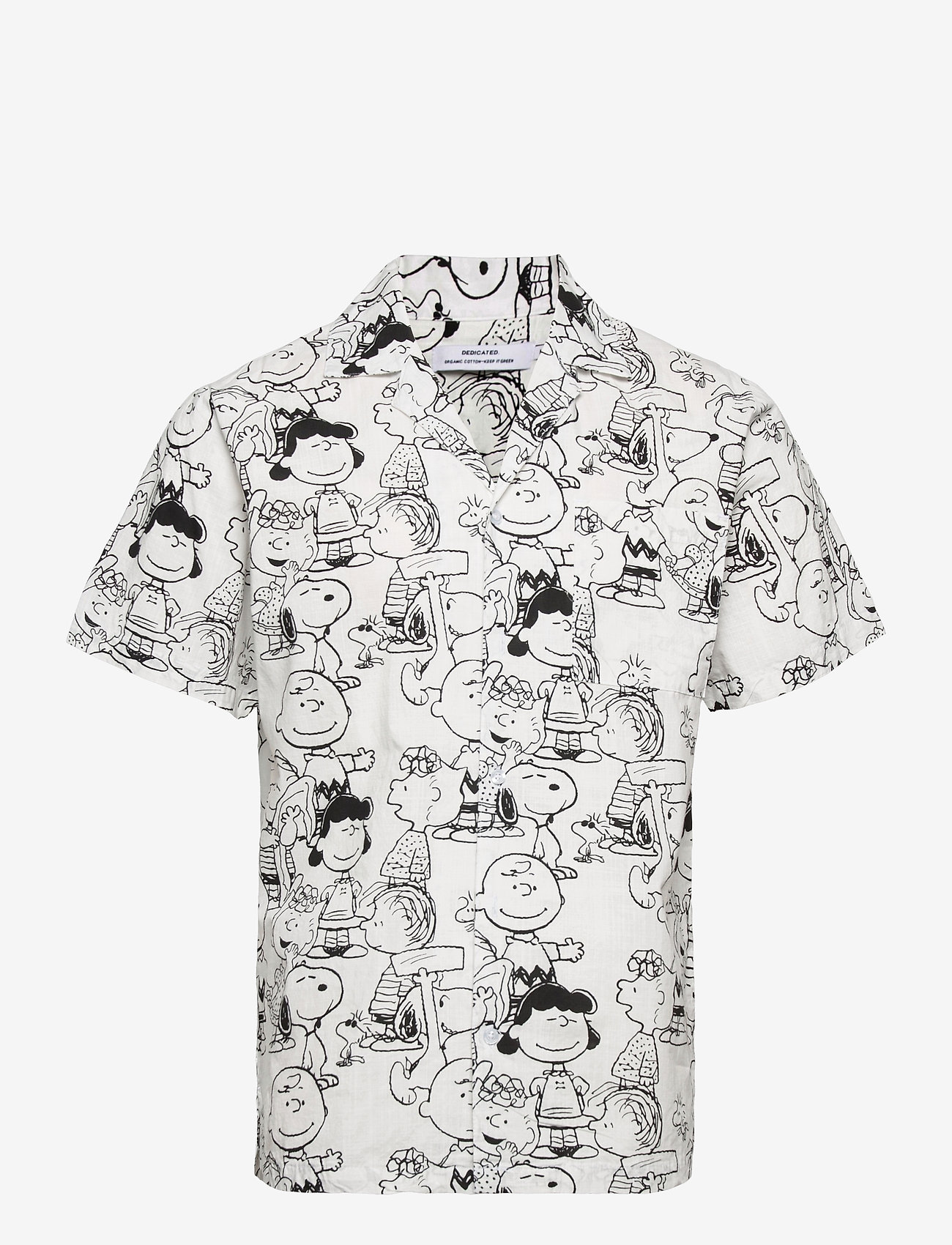 DEDICATED - Shirt Short Sleeve Marstrand Peanuts AOP Off-White - geruite overhemden - multi color - 0