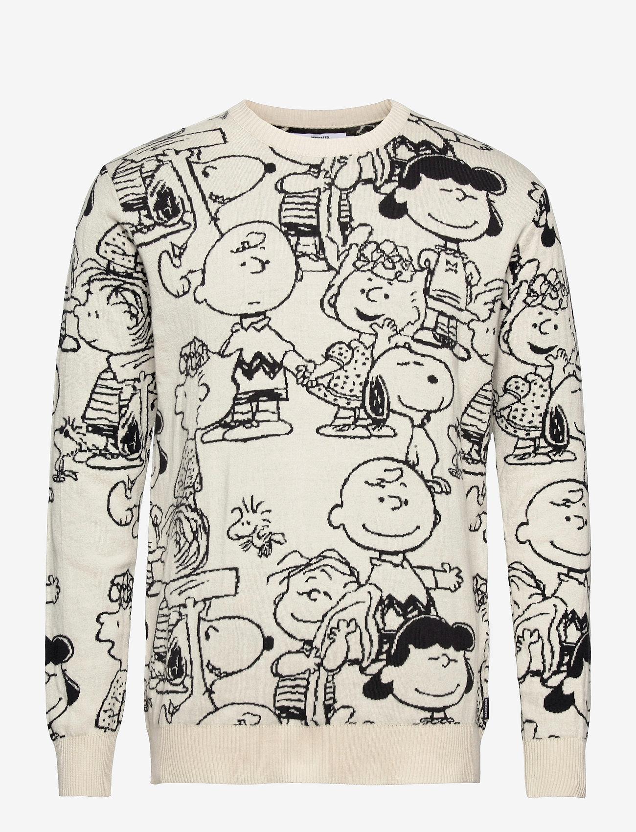 DEDICATED - Sweater Mora Peanuts AOP Off-White - truien met ronde hals - off-white - 0