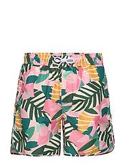 Swim Shorts Sandhamn Collage Leaves - PINK