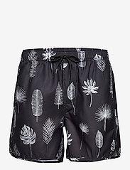 DEDICATED - Swim Shorts Sandhamn Tropic Leaves Grey - shorts de bain - grey - 0