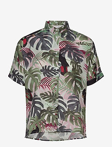 Shirt Short Sleeve Nibe Color leaves - overhemden met korte mouwen - green