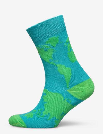 Socks Sigtuna World Map Blue - chaussettes régulières - blue